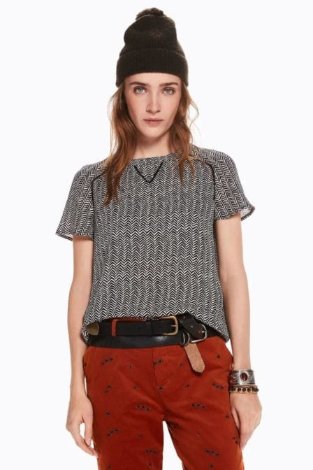 Maison scotch short sleeve top with ladder inserts