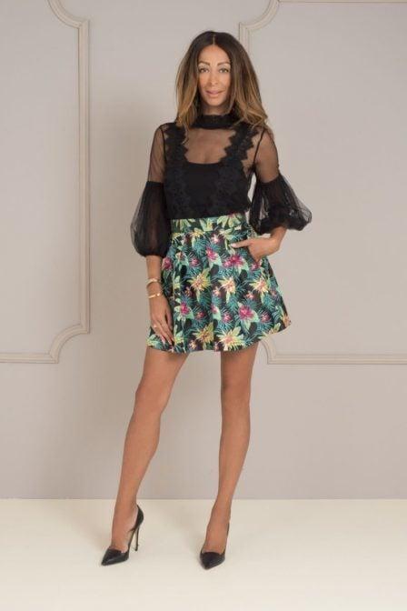 Maria tailor scarlett skirt floral brocade