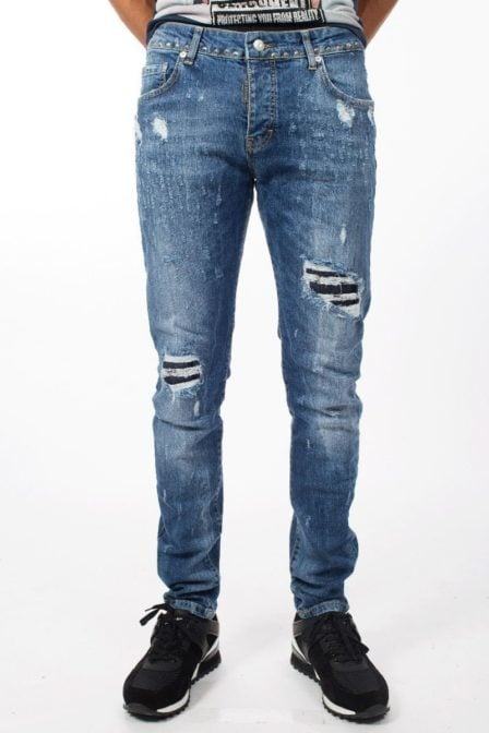 My brand jack 042 studs destroyed jeans blue