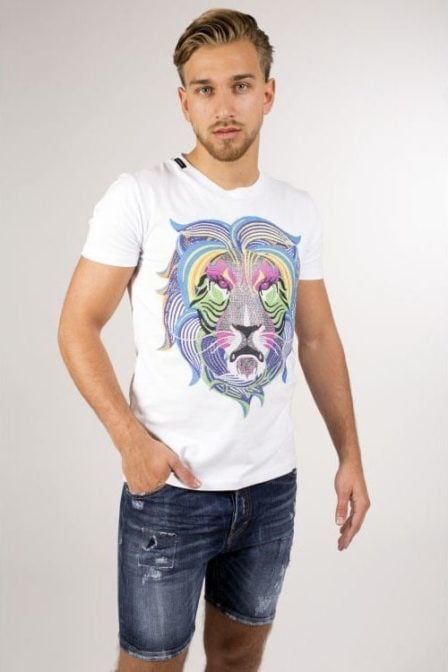 My brand neon king lion t-shirt white