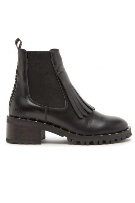 Nubikk djuna fringe black leather