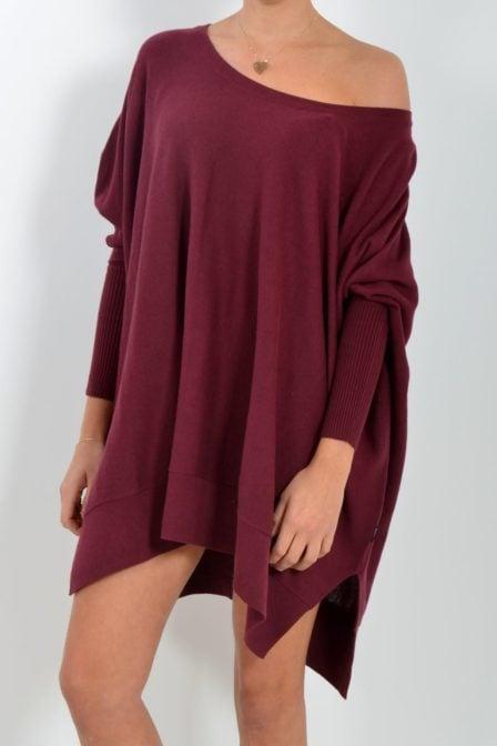 Reinders loesje knitwear short burgundy bordeaux