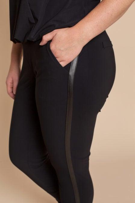 Studio anneloes flo leather tape trouser zwart