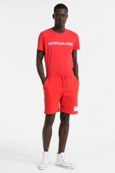 Calvin klein slim korte joggingbroek met logo tomato