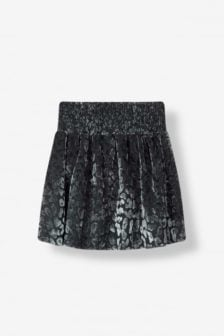 Alix the label leopard burn out skirt dark silver