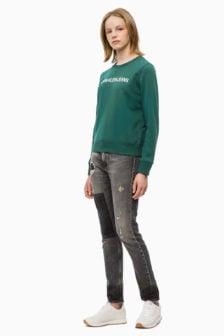 Calvin klein dames sweatshirt met logo groen
