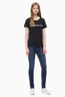 Calvin klein dames t-shirt slim fit zwart
