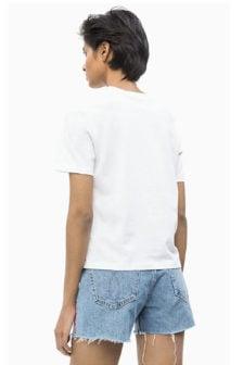 Calvin klein slogan straight tee shirt wit