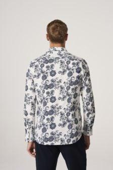 Dstrezzed bloemen overhemd poplin wit
