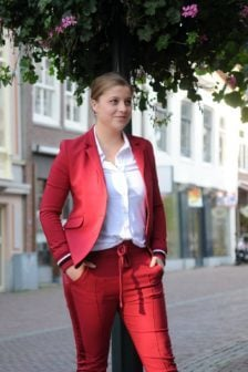 Elias rumelis leya ladies blazer with rib cuffs red
