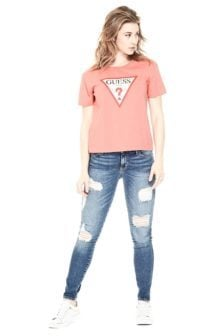 Guess classic triangle logo shirt pink