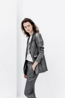 Alix the label foil stretch blazer zilver