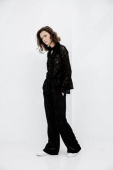 Alix the label knitted lace top zwart
