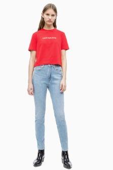Calvin klein cropped t-shirt rood