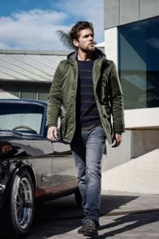 Just brands semi long jacket mountaineer jacket forest night