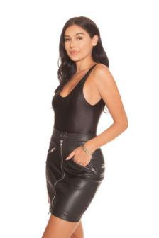 La sisters leather zipper mini skirt black
