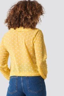 Rut and circle frill wrap blouse geel