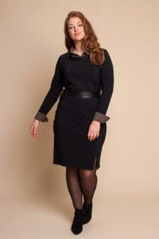 Studio anneloes porter leer tape jurk zwart
