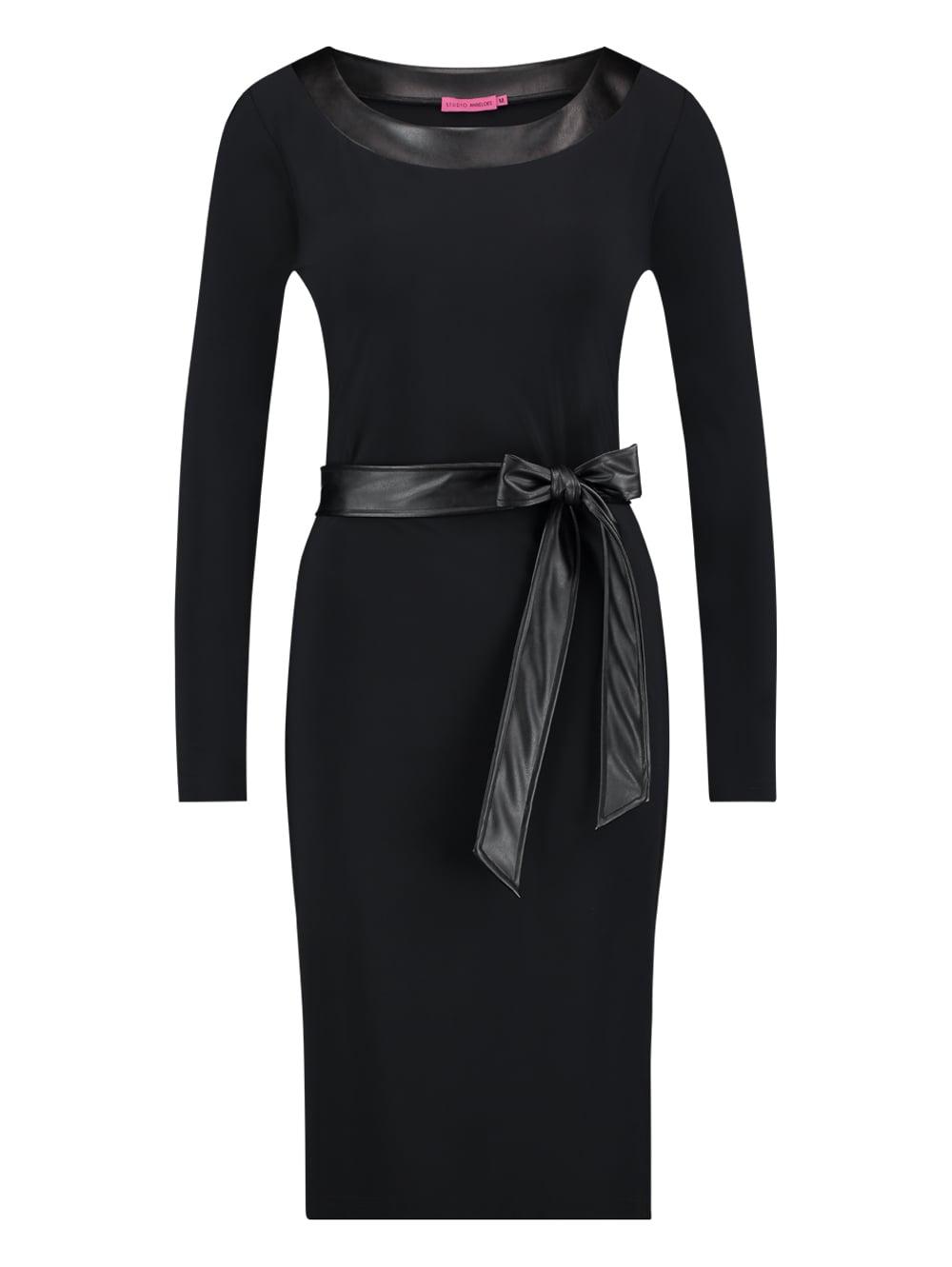 jurk zwart leer