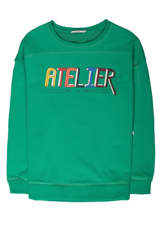 10feet sweater met vintage text print pine green - 10 Feet