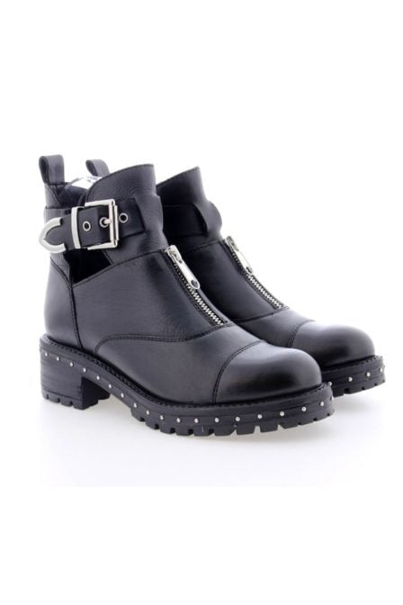 Bronx black/silver leather ankle boots