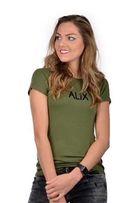 Ladies knitted alix flock t-shirt green 181
