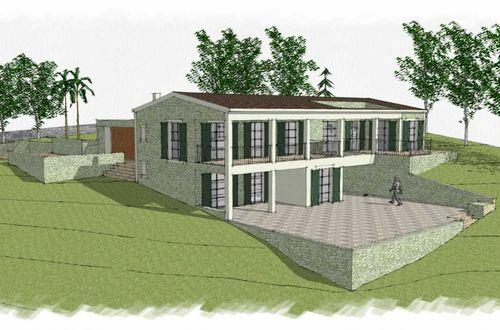 Byggprojekt för ett hus på landet på stor tomt med fullständig sekretess