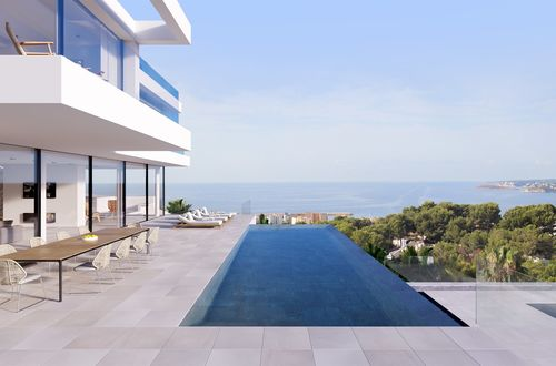 New construction - modern designer villa with a fantastic sea panorama