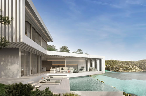 Architectural triumph in Camp de Mar with panoramic sea views