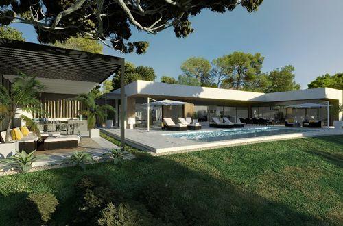 Modern villa med tillgång till stranden under produktion