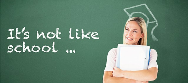 Nine differences between adult learning and school.