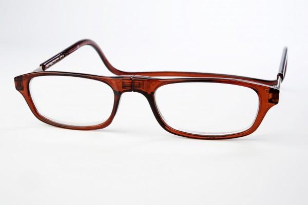 magneet leesbril classic bruin. klikbril met magneetsluiting. magneetbril