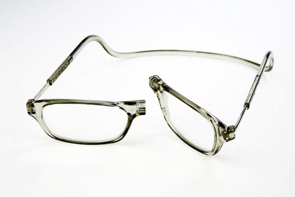 magneet leesbril classic grijs. klikbril met magneetsluiting.