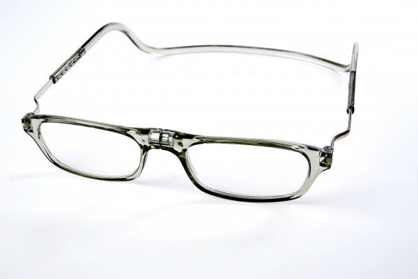 magneet leesbril classic XL grijs van Spunx. klikbril met magneetsluiting en extra brede hoofdband. magneetbril