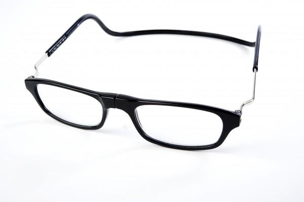 magneet leesbril classic zwart XL. klikbril met magneetsluiting en extra brede hoofdband. magneetbril