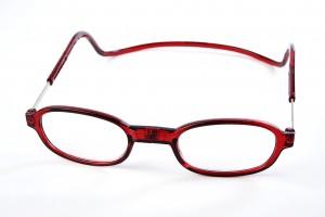 magneet leesbril rond van Spunx. Rode leesbril met magneetsluiting in retro look. Magneetbril