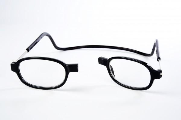 leesbril met magneet sluiting rond zwart retro look open