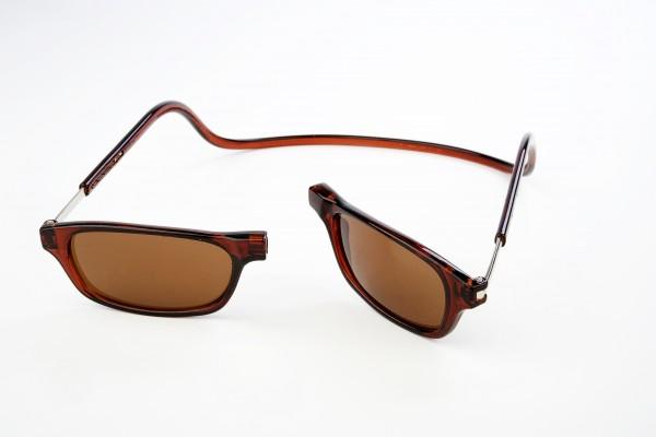 magneet zonneleesbril bruin. klikbril zonnebril met magneetsluiting