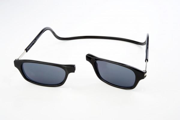 magneet zonneleesbril zwart. klikbril zonnebril met magneetsluiting