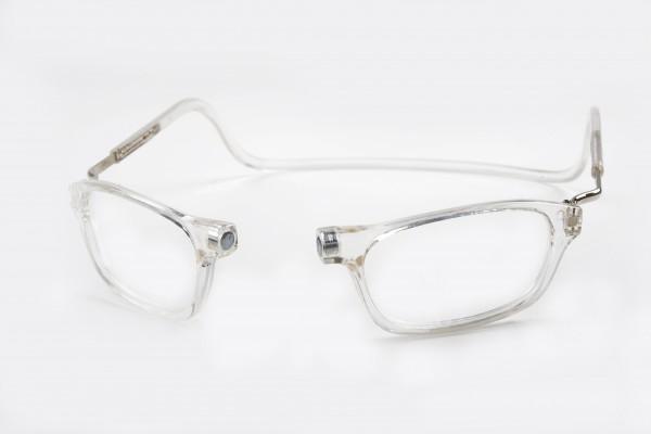 magneet leesbril classic transparant XL. klikbril met magneetsluiting en extra brede hoofdband. leesbril met magneet