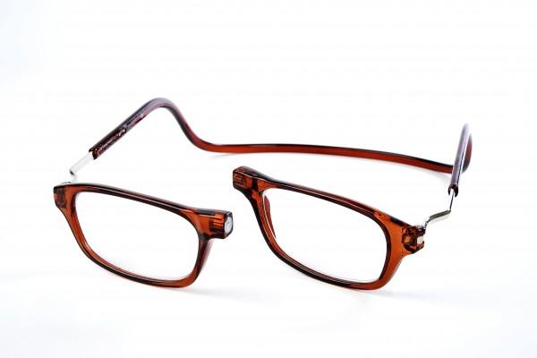 magneet leesbril classic bruin XL. klikbril met magneetsluiting en extra brede hoofdband.