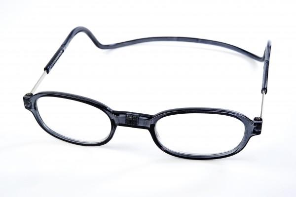 leesbril met magneet sluiting rond grijs retro look magneetbril