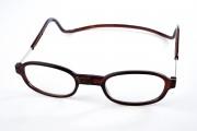 leesbril met magneet sluiting rond bruin retro look magneetbril