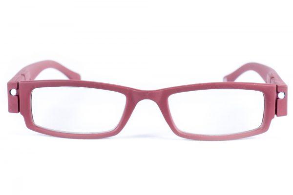 LED leesbril mat donkerrood. Bril met LED verlichting, leesbril met lampjes. Breinville voordelige leesbril. Goedkoop. Gratis verzending
