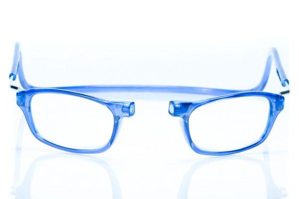 magneet leesbril classic blauw XL. klikbril met magneetsluiting en extra brede hoofdband.