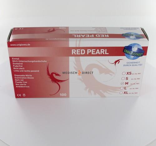FHS HANDSCHOENEN POEDERVRIJ NITRILE RED PEARL MEDIUM (ROOD/100st)