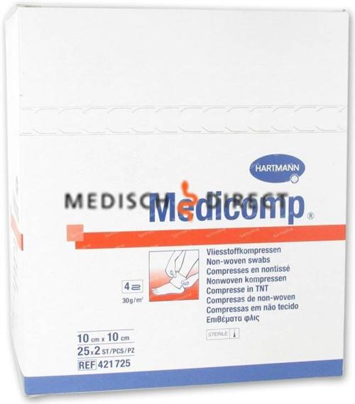MEDICOMP NON-WOVEN 10 x 10cm STERIEL (25x2st)