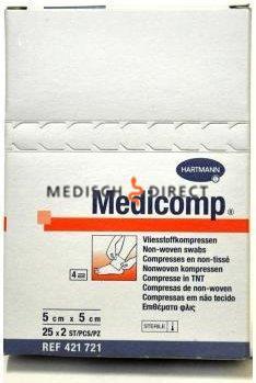 MEDICOMP NON-WOVEN 5 x 5cm STERIEL (25x2st)