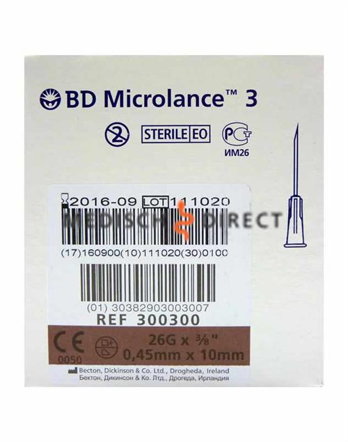 MICROLANCE NAALDEN 0,45 x 10mm ( 26G x 3/8 ) (100st)