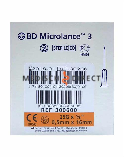 MICROLANCE NAALDEN 0,50 x 16mm ( 25G x 5/8 ) (100st)